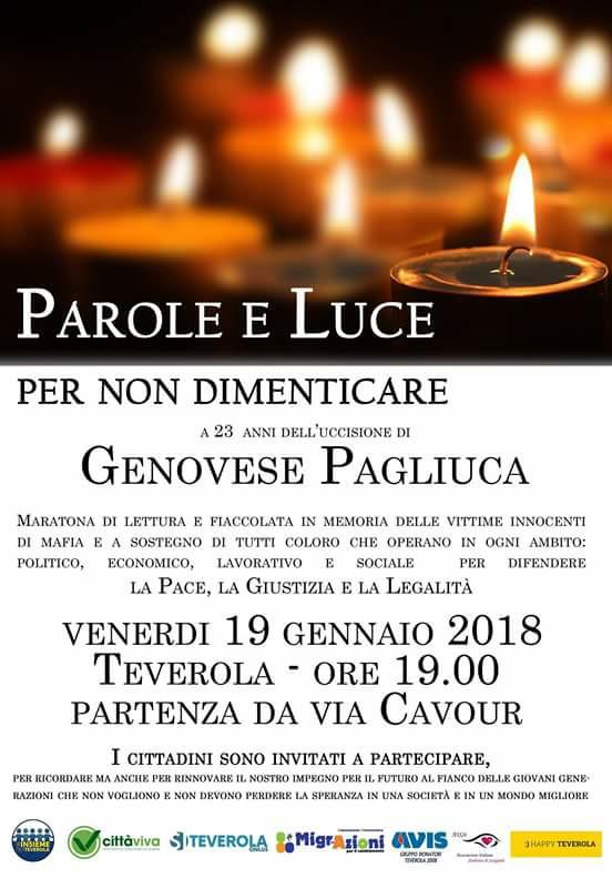 """""""Parole e Luce per non dimenticare"""" in ricordo di Genovese Pagliuca"""